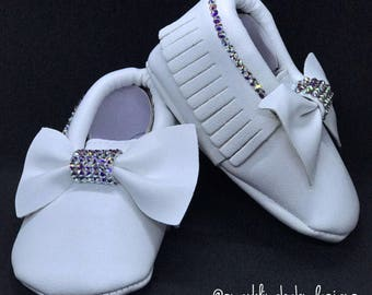 White Baby Moccasin Shoes With Swarovski Crystals