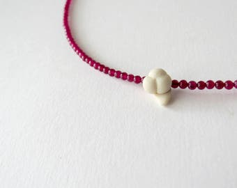 Lonely pansy between cherry red jade, elegant minimal necklace with polymer clay element