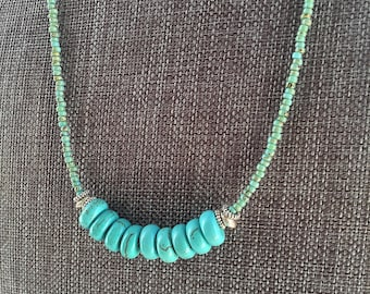 Turquoise Magnesite Stones, Picasso Seed Beads, Necklace, Silver