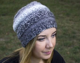 Gray and White Slouchy Knit Hat - Grey Vegan Hat - Boho Hat - Hipster Hat - Hippie Hat Womens Tam - Mens Beanie - Unisex Acrylic Hand Knit