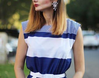 Navy stripes dress Lines dress Geometric summer dress 70 s Vintage sailor dress White and blue dres (S/M)