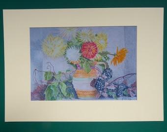 Flower Art Prints, Still life Art Print, Flower Prints, Rustic flower Prints, Country Living Print,  Flower Wall Art, Flower Painting Prints