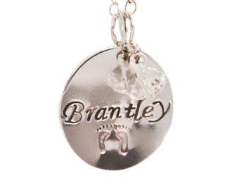 Mommy pendant etsy personalized silver disc necklace mommy pendant baby name jewelry custom pendant sterling aloadofball Gallery