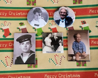 Custom CHRISTMAS STOCKING STUFFERS magnets or buttons for family and friends