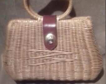 1950s Basket Bag  / 50s Ladies Basket Handbag