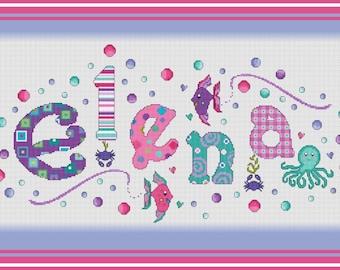 Under The Sea Girls Nameplate Sampler// Fish Name Cross Stitch // Name Sampler // Octopus Girls Personalized Cross Stitch Nameplate Sampler