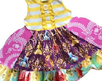 Belle Cinderella Rapunzel Disney Princess dress Momi boutique custom dress