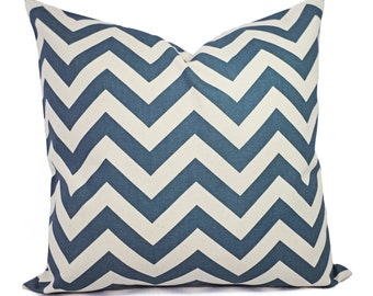 Two Chevron Decorative Pillow Covers - Blue and Cream Pillow Covers - Rustic Pillows - Natural Pillow Cover - Denim Blue Pillow Cover