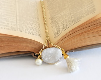 Raw Crystal Quartz Necklace,  Rough Gemstone Necklace,  Gem Geodes White Crystal,  Tassel Necklace