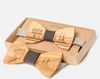 """Wooden Bow Tie """"Riga"""" - for Adults and Kids"""