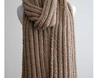 LONG KNIT SCARF, Knit scarf, knit shawl, chunky wool scarf, cozy soft scarf, camel scarf, classic knit scarf, winter scarf, blanket scarf