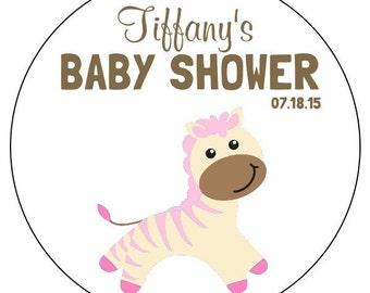 custom pink baby zebra stickers, pink baby shower stickers, pink baby shower zebra labels