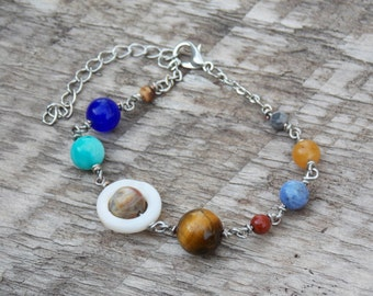 Galaxy Universe Solar System Jewelry Bracelet Space Planets  Outer Space Astronomy Astrology Cosmic Stone Beads Jasper Quartzite Tiger's Eye