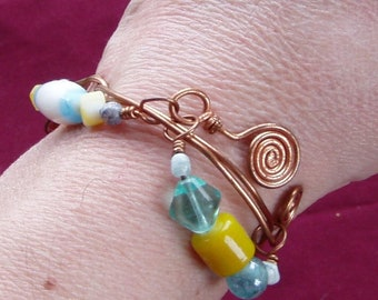 Beaded Copper Wirework Cuff