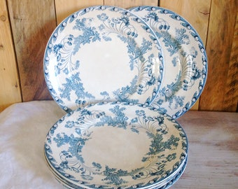 Old transferware ironstone Longwy, Chartres pattern porcelain dessert plates