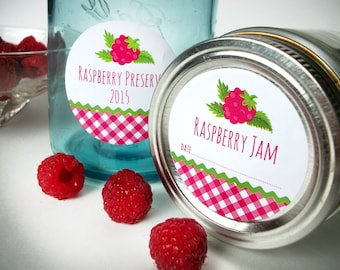 Gingham Red Raspberry canning jar labels, round mason jar labels, fruit canning labels, preserves jelly jam jar labels, cottage chic