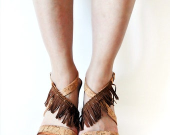 Leather Platform Sandals with Cork and Brown Fringes