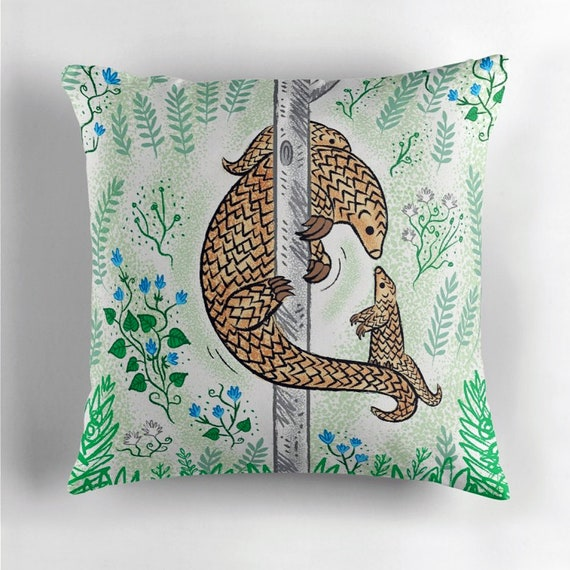 Pangolin Parenting - throw pillow cover / cushion cover including insert by Oliver Lake iOTA iLLUSTRATION