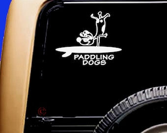 Slick Rick Mutt Mix Dog Vinyl SUP Kayak Canoe Car Sticker Decal Original Design by Paddling Dogs