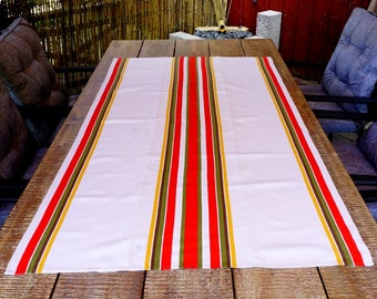 Oblong Ecru Tablecloth, Swedish Striped Table Cloth, Woven-In Borders, Mid Century Table Linens 1960s Home Decor, Scandinavian Textile