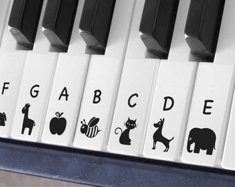Keyboard / Piano Transparent Stickers for 52 White keys (Cartoon A)