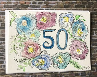 50th Birthday Card, Hand Painted 50th Birthday Card, Watercolor 50th Birthday Card