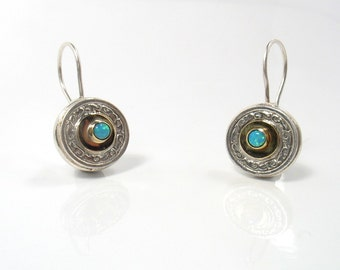 Round Victorian Earrings - silver and gold earrings with Lab Opals