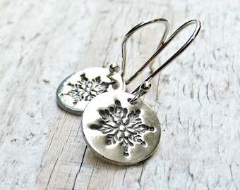 Silver Snowflake Earrings, Sterling Silver Earrings, Snowflake Earrings, PMC, Metal Clay, Winter Holiday Jewelry, Fine Silver, Gift under 35