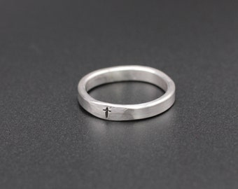 Sterling Silver Cross Ring - Hand Stamped Tiny Cross Ring - 3mm wide - Stacking Ring