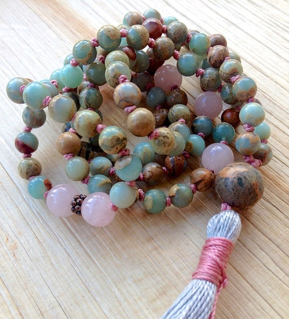 Rose Quartz Mala Beads - Heart Chakra Necklace - Mala Beads 108 - Mala Bead Necklace - Yoga Gifts - Meditation Beads - Spiritual Gift