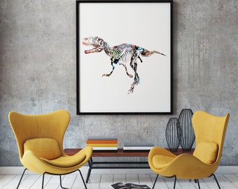 Dino Print Art Poster Animal Illustration Home Decor