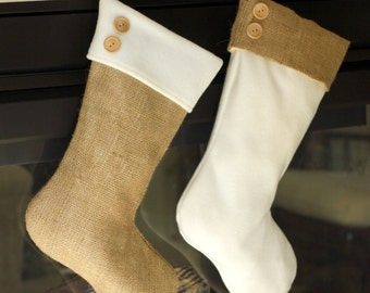Two Burlap & Fleece Christmas Stockings