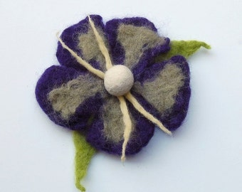 Flower pin felt brooch purple flower hair clip, flower felt pin, corsage, jewelry, felt flower brooch pin, felt jewelry pin, brooch jewelry