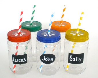 "Plastic Mason Jars with ""FREE"" Chalkboard Labels and Daisy Lids /  Party Mix…Pick your Color(s)  / 10 Jars, 10 Lids & 10 Labels"
