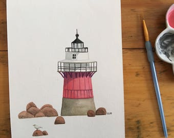 "FINE ART ""Duxbury Pier Lighthouse"" limited edition Giclee Print from watercolor illustration"