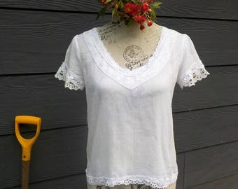 vintage lace cotton top - altered couture - medium