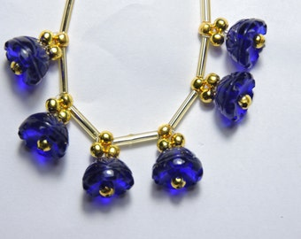 6 Pieces Extremely Beautiful Cobalt Blue Quartz Hand Carved Jhumkas. Bell Shaped Beads Size 13X13 MM