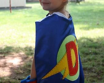 Superhero Cape Boys - PERSONALIZED BLUE-Choose the Initial - Superhero Birthday Party Costume