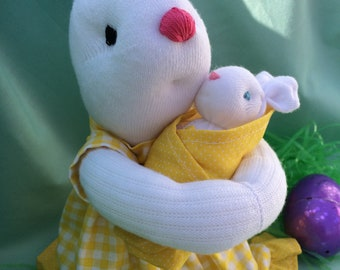 Easter Sock Bunny Momma and Baby