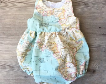 Michele yezzie on etsy flutter baby worldmap romper baby romper with world map print spanish canvas fabric sizes from 0 to 3 years gumiabroncs Image collections