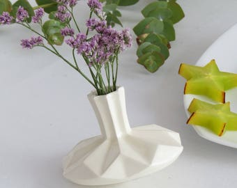 Judaica gift, White ceramic small vase, vase and spinning top - Two in One Chanukah gift ,modern gift, Handmade in Israel