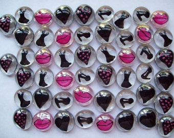 Girly Hand painted glass gems party favors girly mix  pink and black hearts lips  black dress