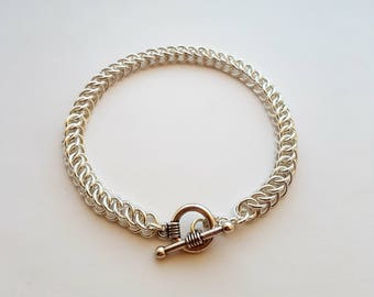 Silver chainmaille persian bracelet