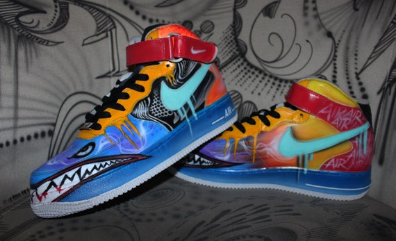 Custom painted Nike AIR FORCE 1 one Special sharkmouth Style ***SALE Price  for a short time***