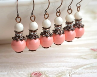Coral Pearl Bridesmaid Earrings, Bridesmaid Gift, Swarovski Pearl Earrings, Rustic Pink Coral Jewelry, Flower Girl Beach Wedding Party