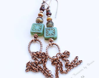 Green Copper Earrings Green Czech Glass Beads Long Earrings Boho Style Earrings Copper Chains Rustic Earrings