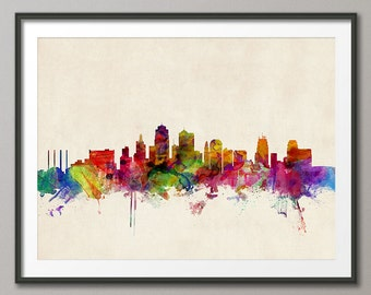 Kansas City Skyline Cityscape Art Print (968)
