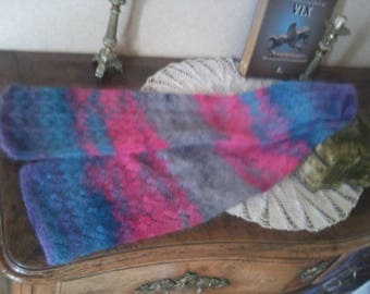 SCARF HAND KNITTED pink/blue/grey Kid mohair and silk