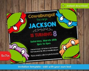 Teenage Mutant Ninja Turtles Invitation - TMNT Printable birthday party invite - PDF Instant Download