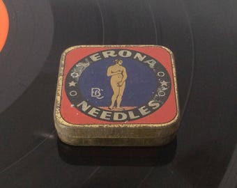 Verona Needles, Phonograph Needles, Gramophone Needles, Tin Needle Box.